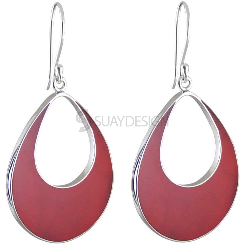 Women's Teardrop Red Silver Earrings