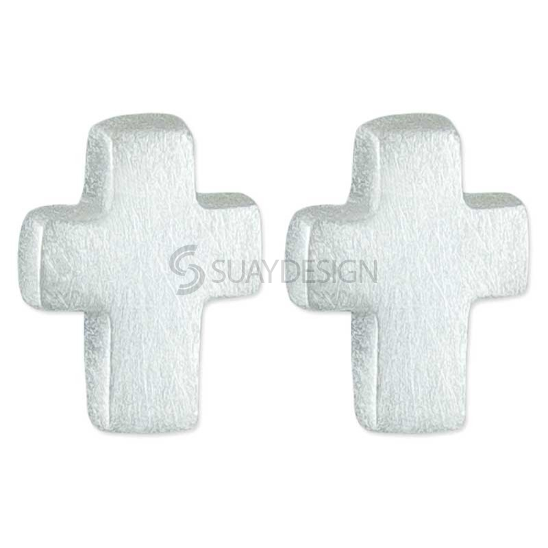 Women's Silver Cross Mini Earrings