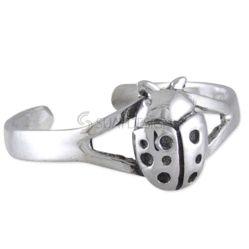 Women's Ladybird Silver Toe Ring