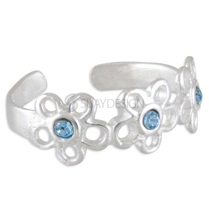 Women's Silver Blue Flower Toe Ring