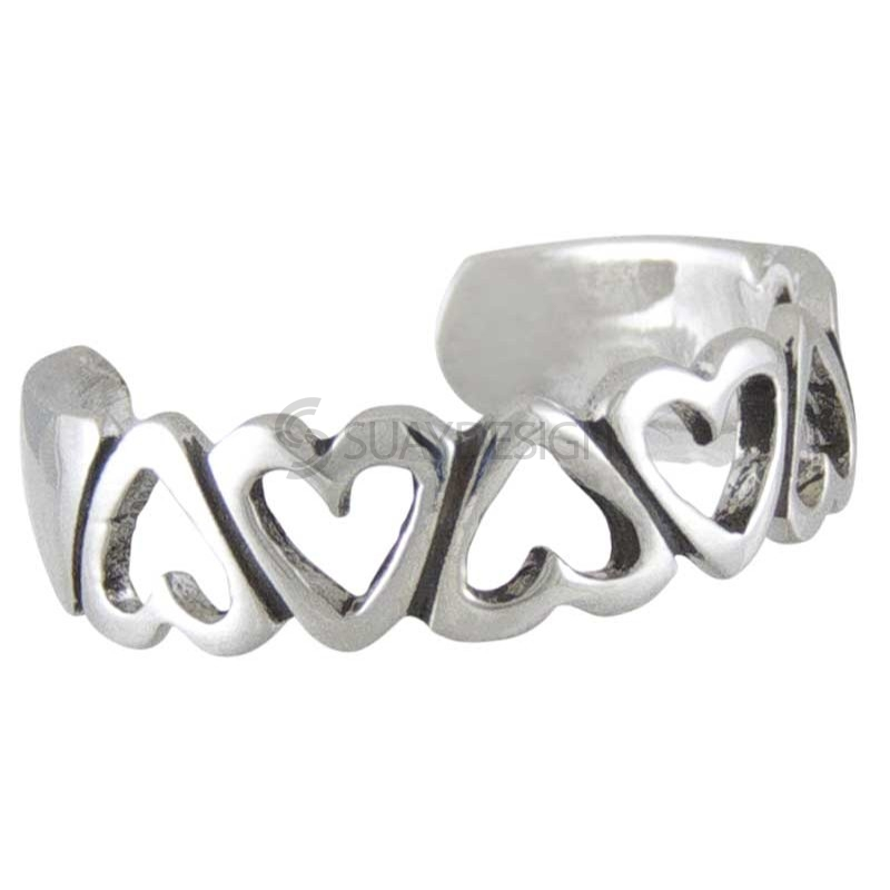 Women's Six Of Hearts Silver Toe Ring
