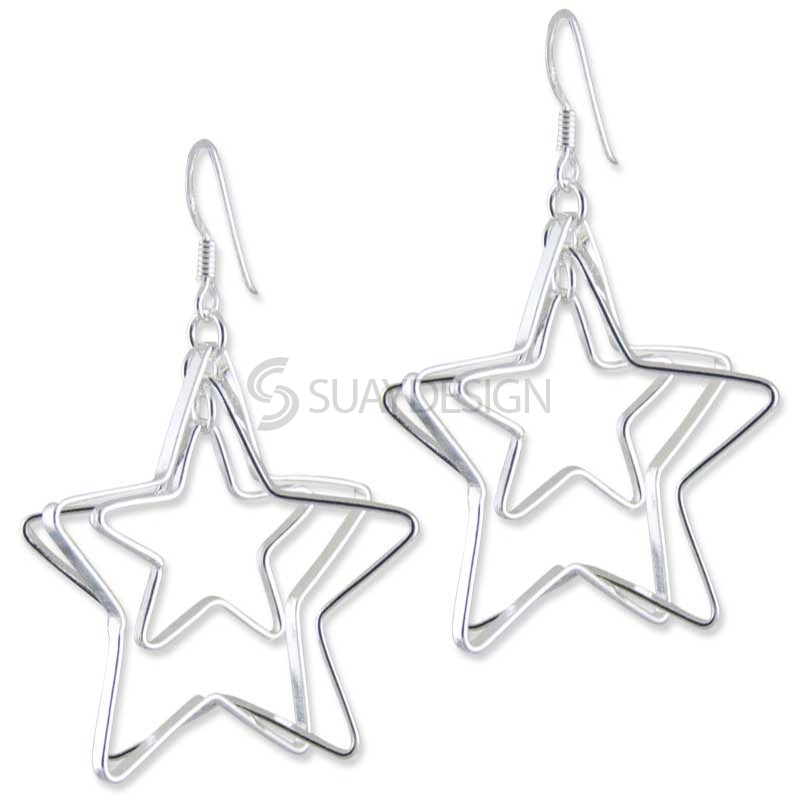 Women's Triple Star Silver Earrings
