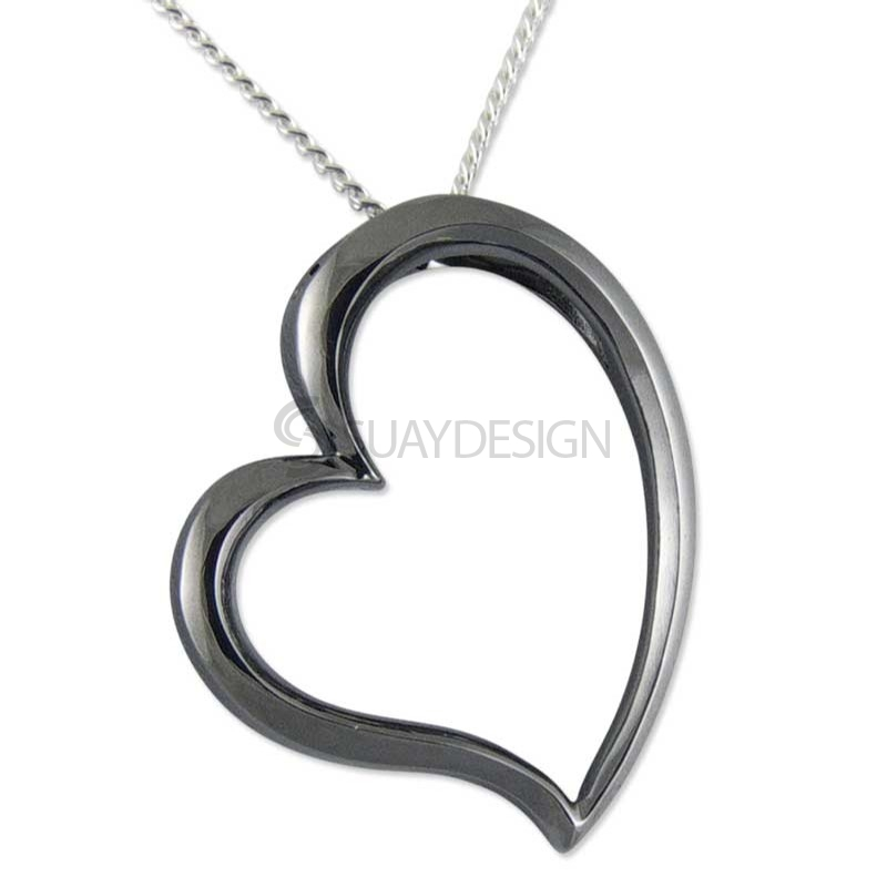 Women's Demure Black Silver Heart
