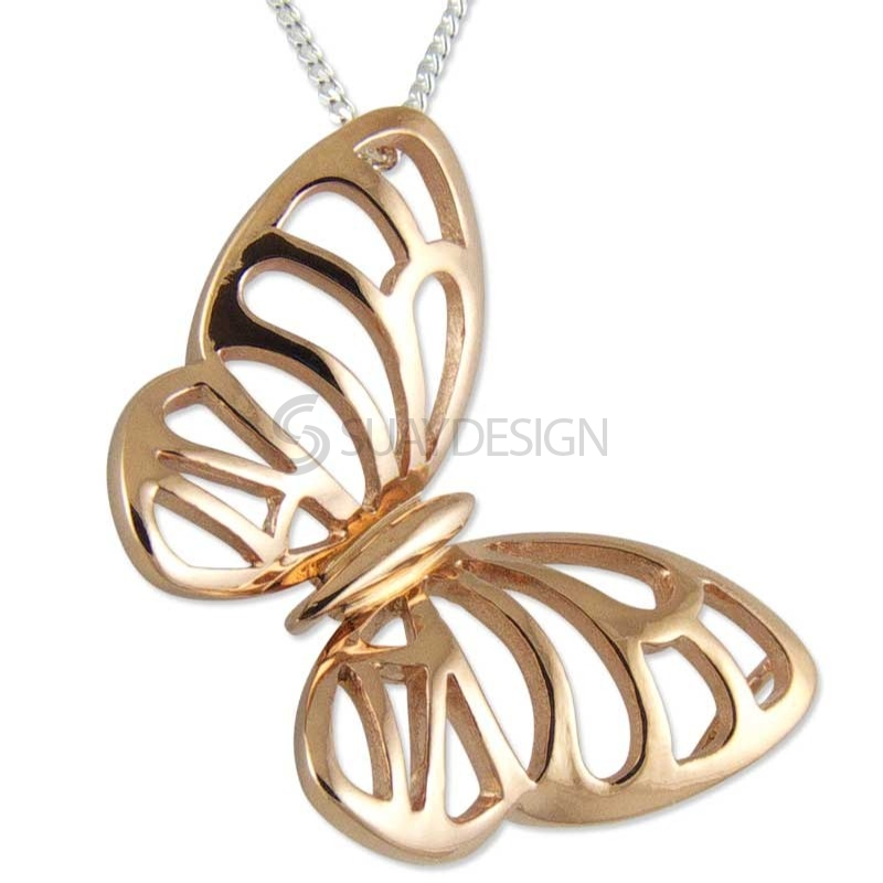 Women's Rose Butterfly Midi Necklace