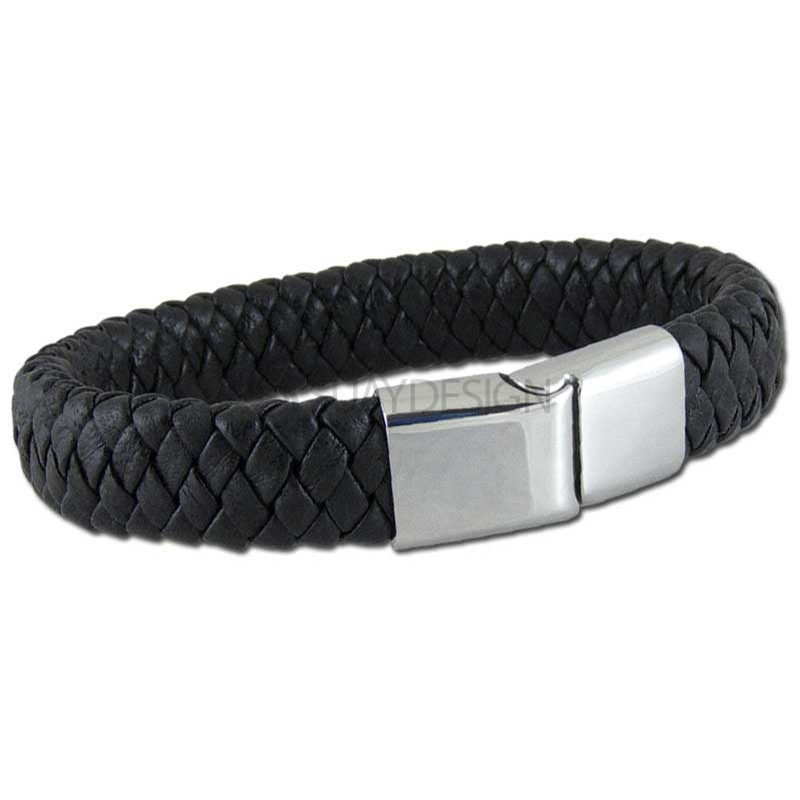 Washington Black Leather Bracelet