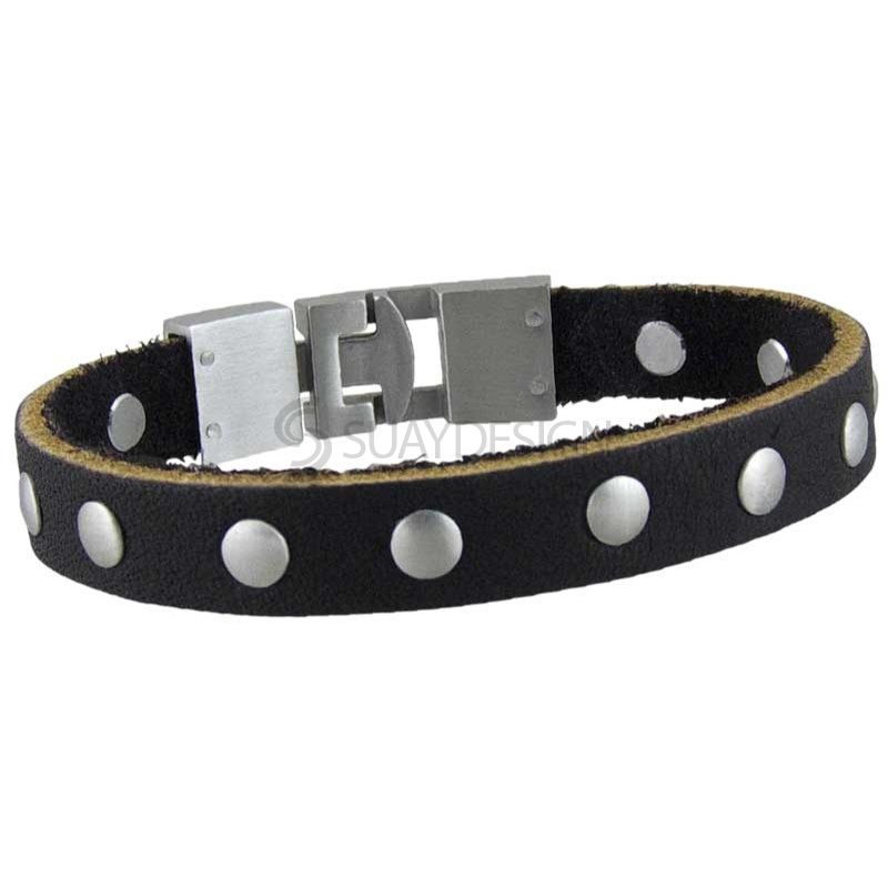 Dakota Black Leather Bracelet