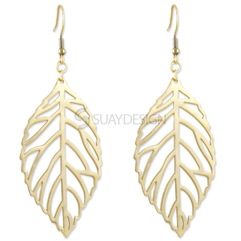 Women's Gold Leaf Major Steel Earrings