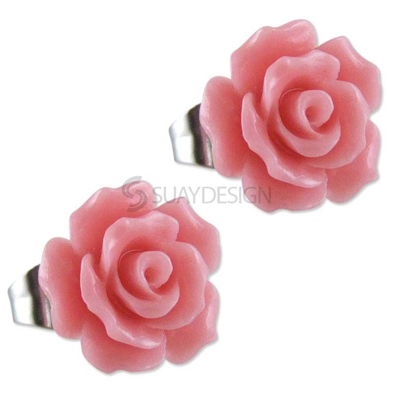 Women's Pink Rose Earrings