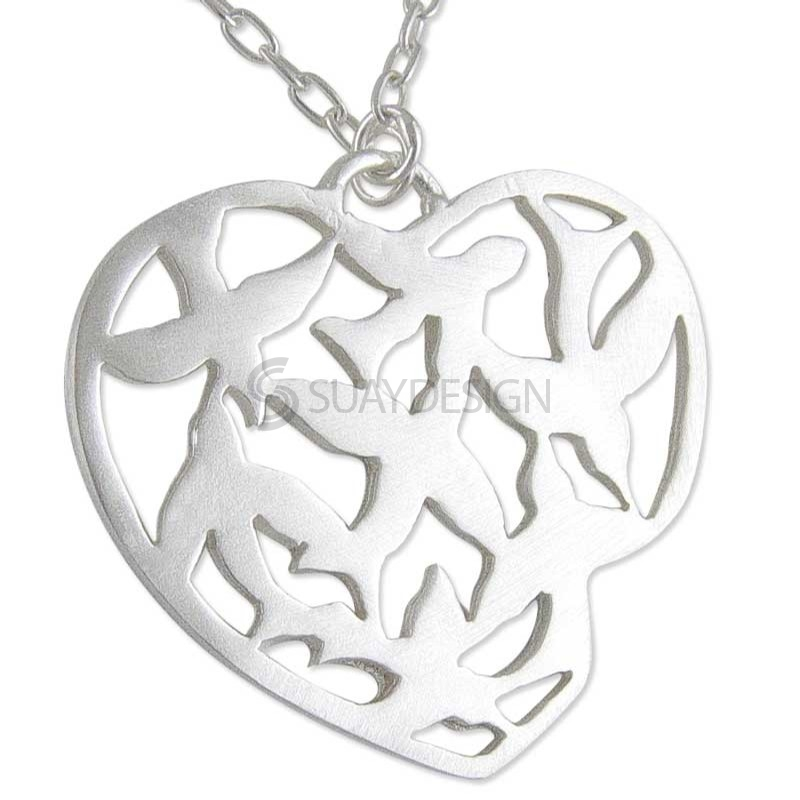 Women's Silver Swallow Heart Necklace