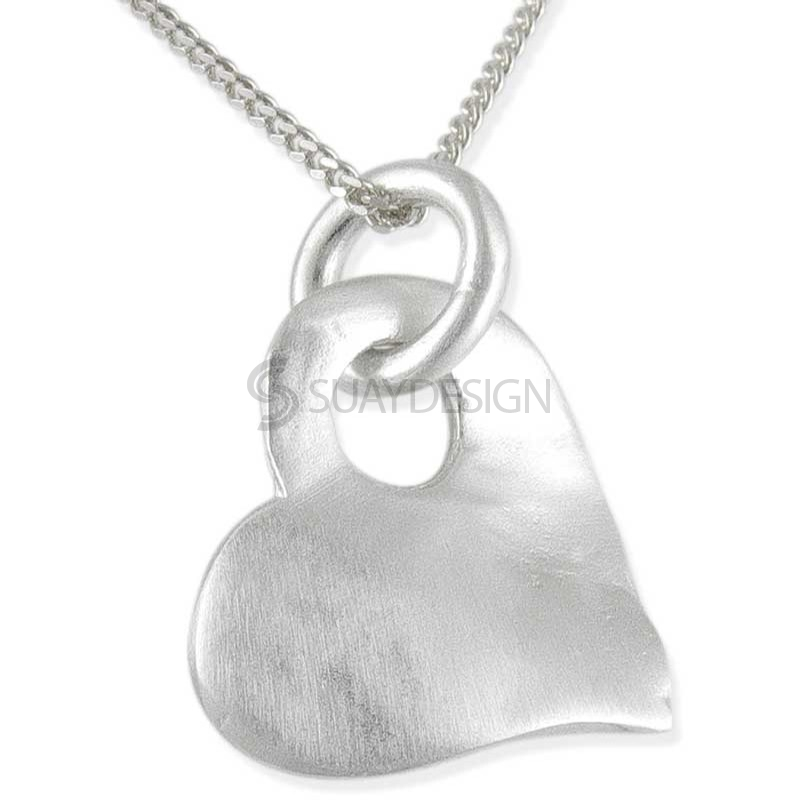 Women's Kiss Silver Necklace