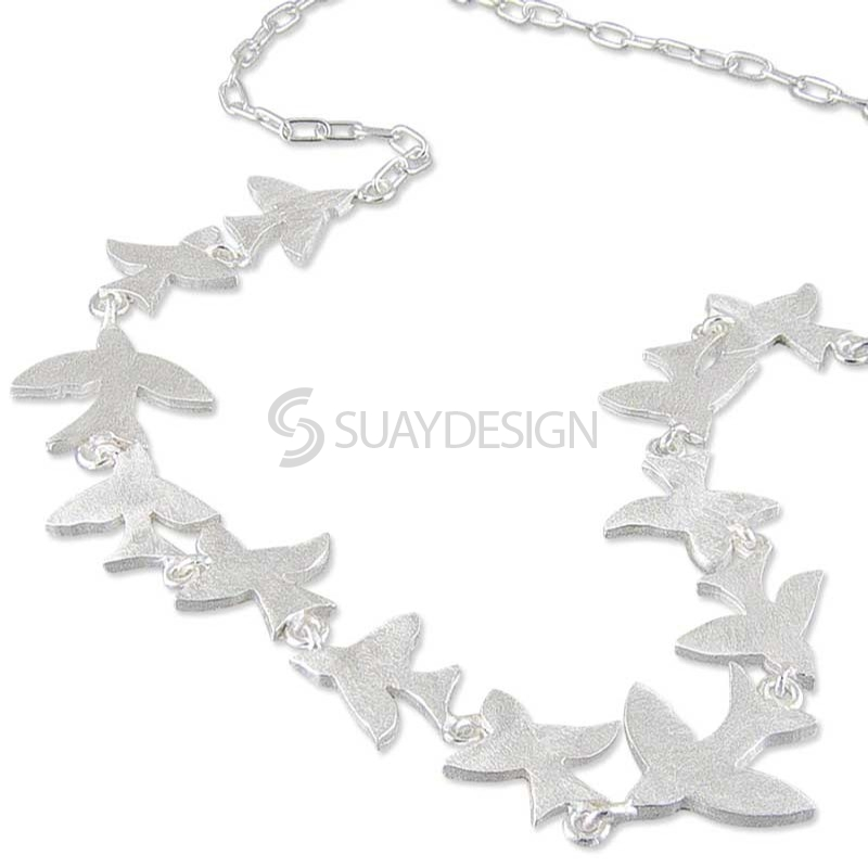 Women's Flock of Birds Silver Necklace