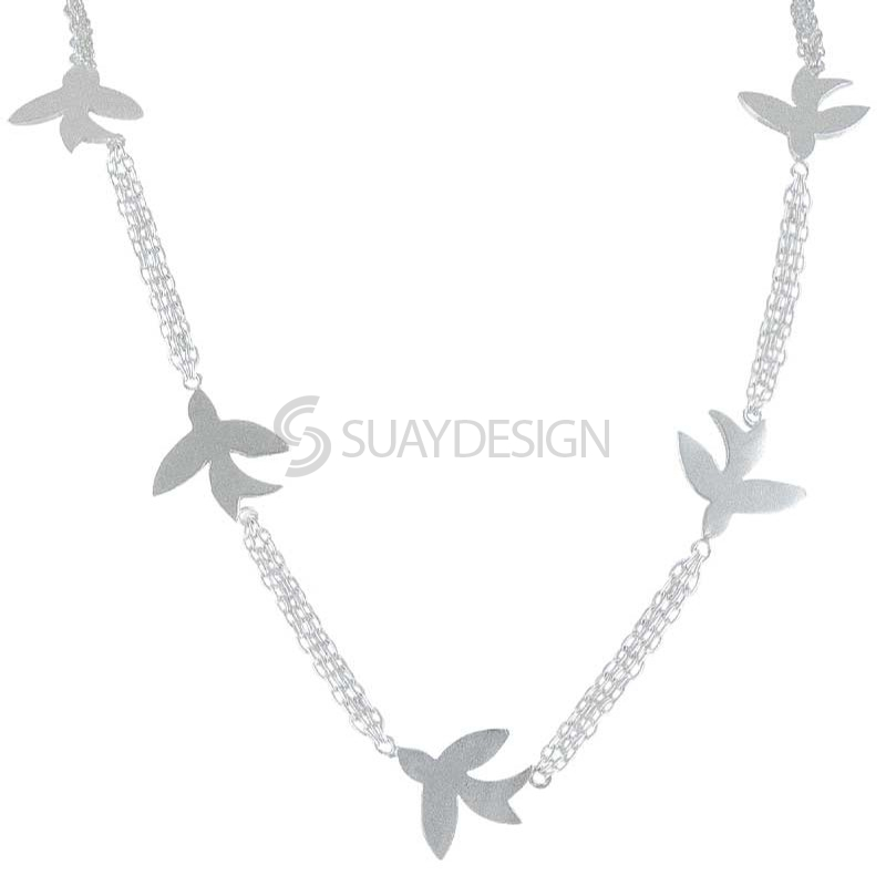 Women's Silver Chain of Swallows