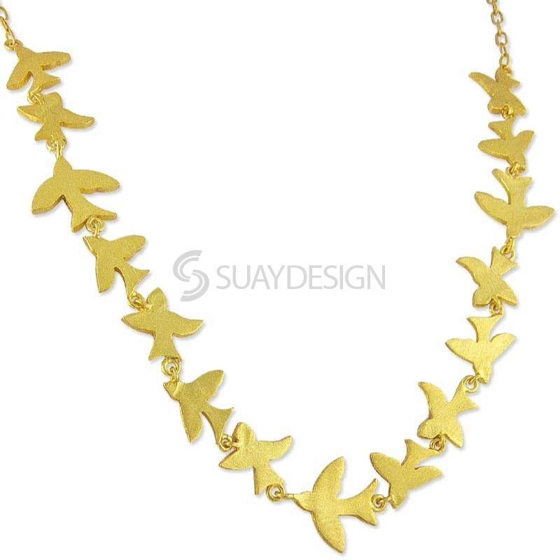 Women's Golden Flock of Birds Necklace