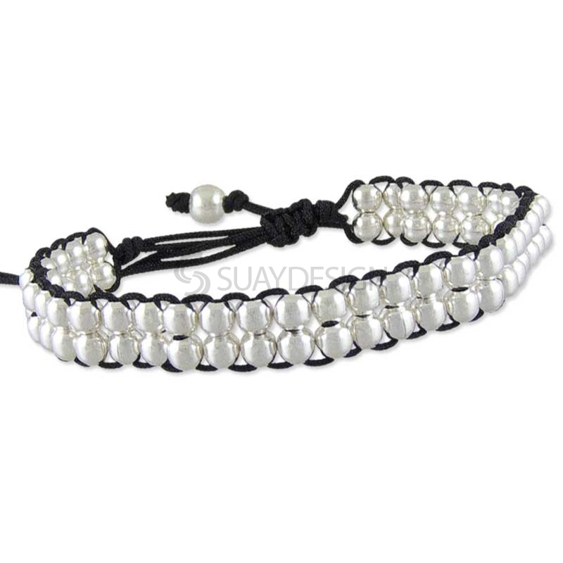 Women's Poise Black Silver Bracelet
