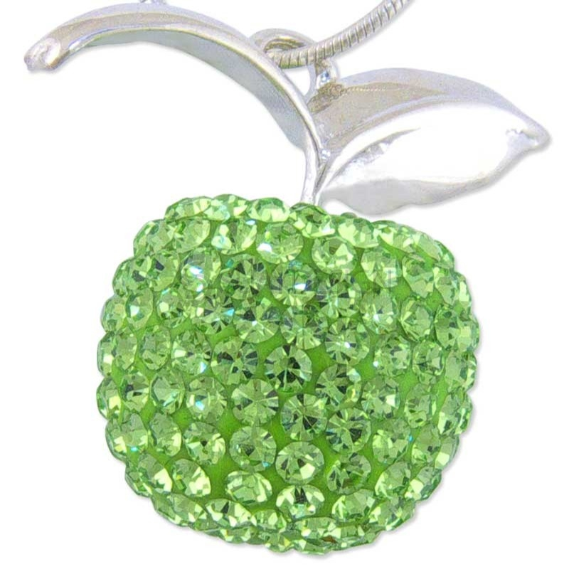 Women's Silver Crystal Green Apple