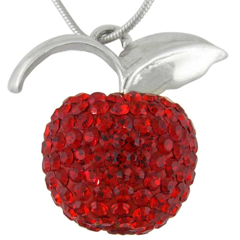 Women's Silver Crystal Red Apple