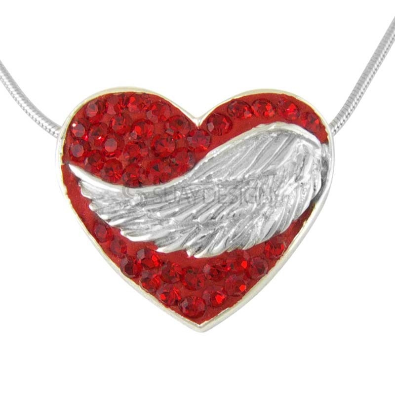 Women's Silver Winged Rose Embrace
