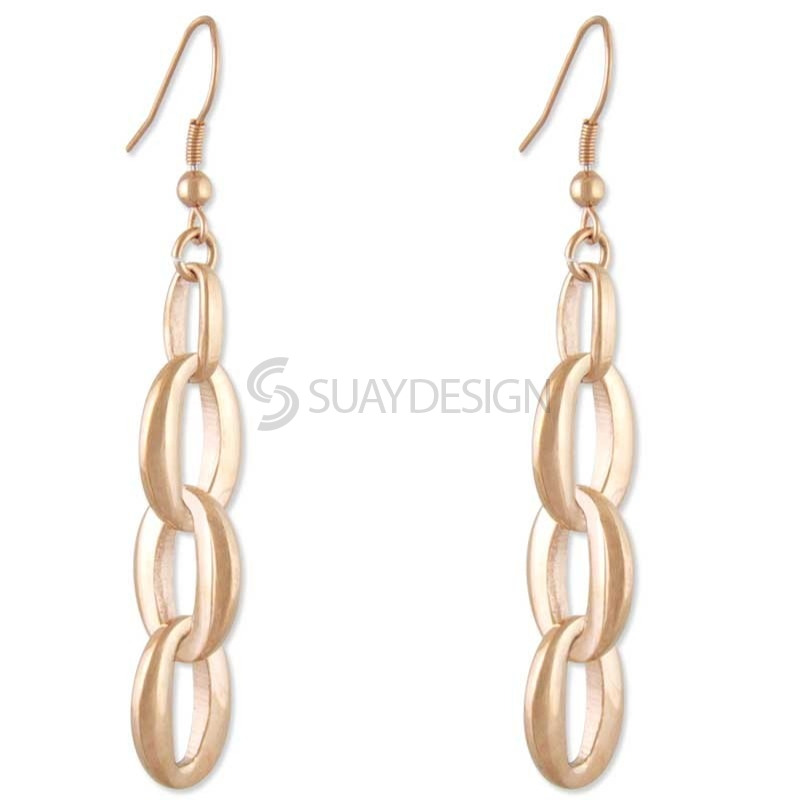 Women's Affair Rose Gold Steel Earrings