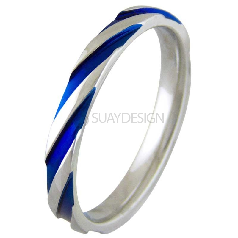 Women's Electric Blue Twist Steel Ring