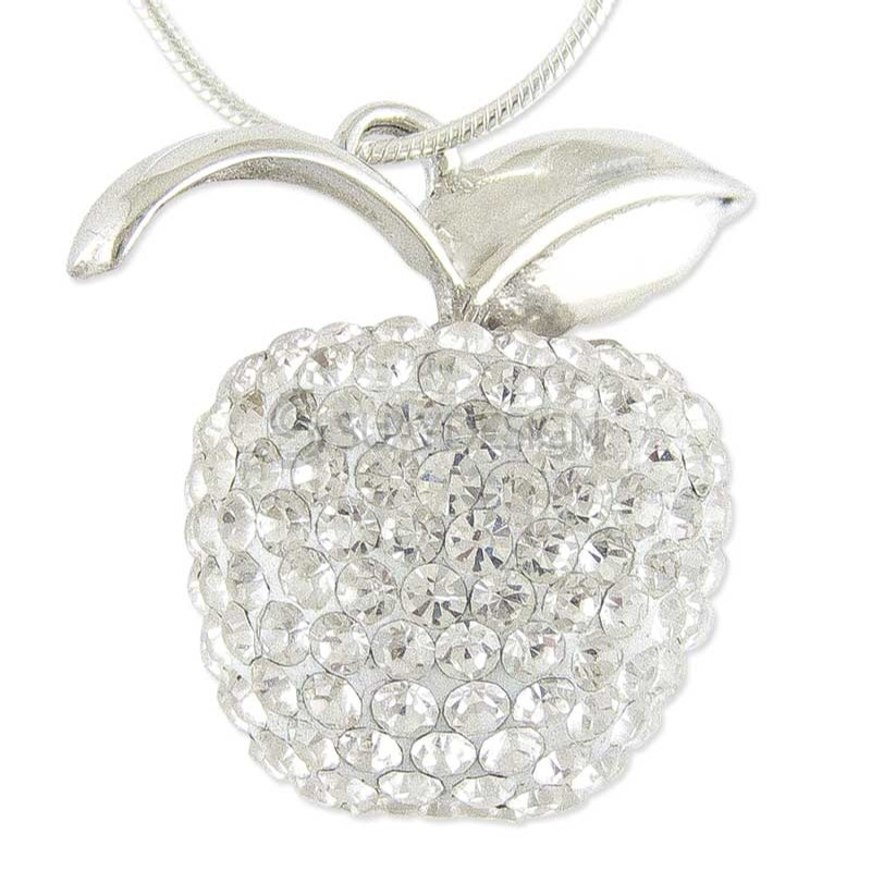 Women's Silver Crystal Apple Necklace