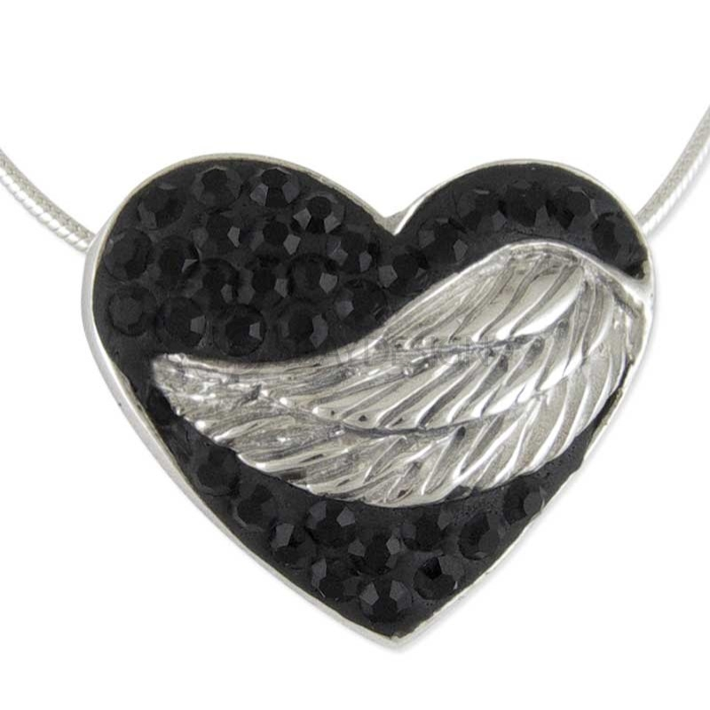 Women's Silver Winged Black Embrace