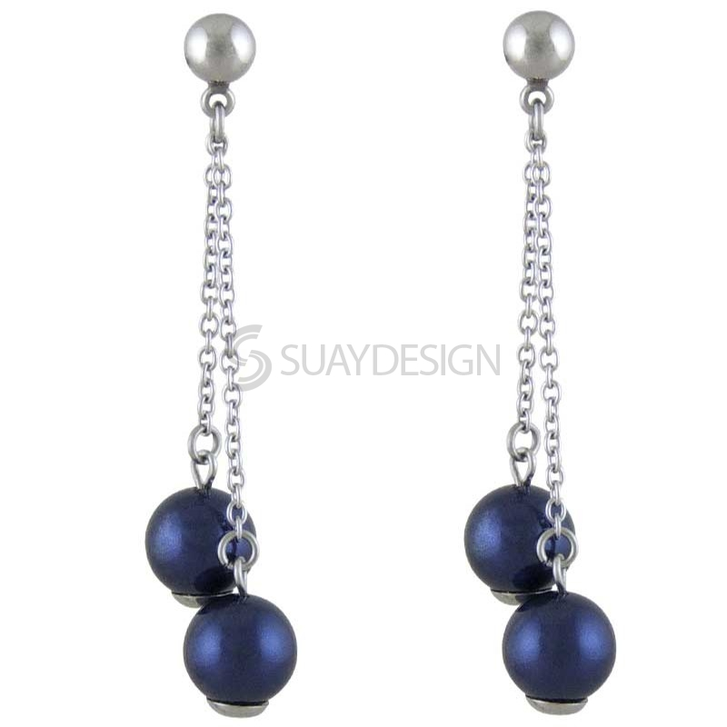 Women's Enchant Night Blue Pearl Earrings