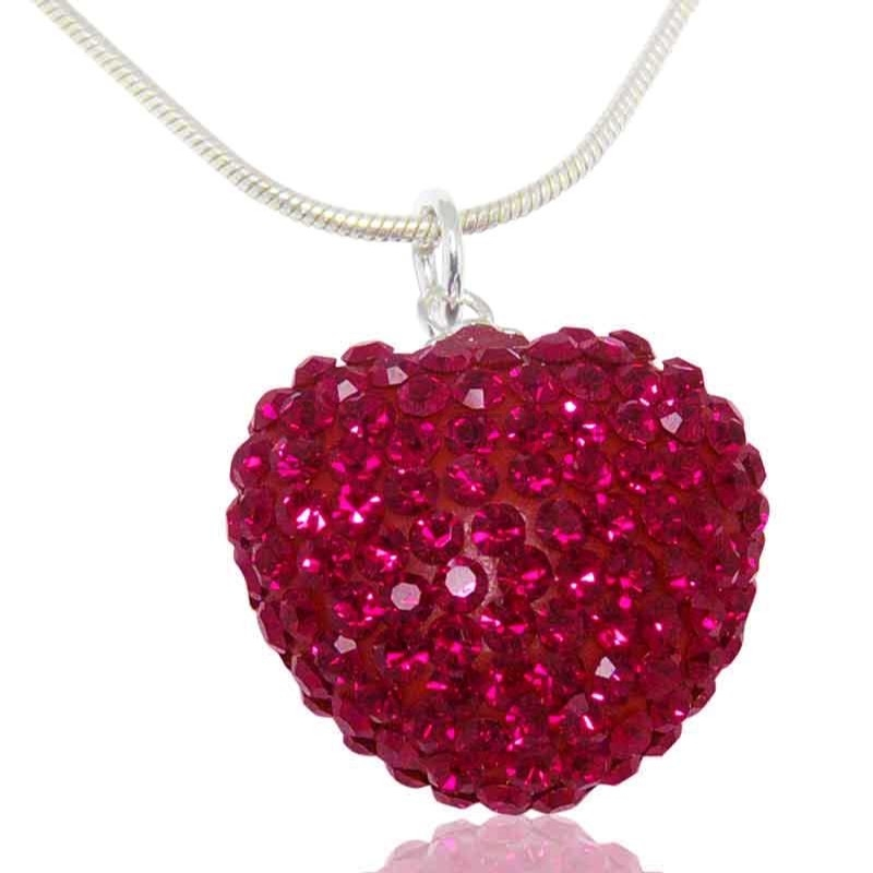 Women's Ruby Crystal Heart