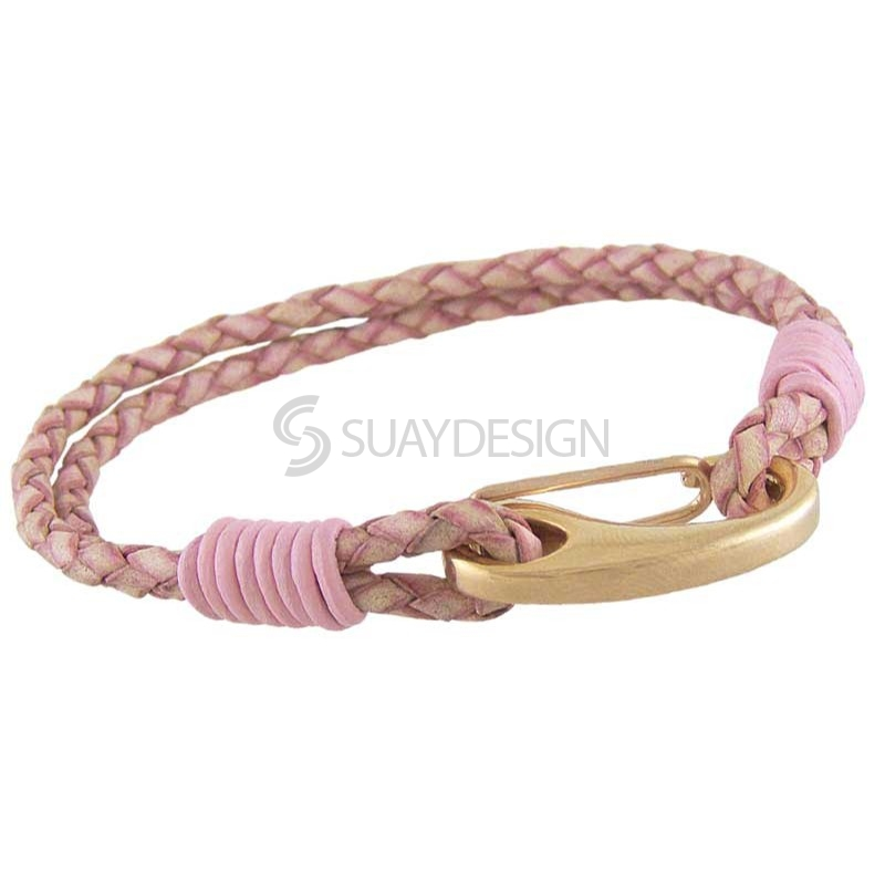 Women's Orlando Antique Pink Leather Bracelet