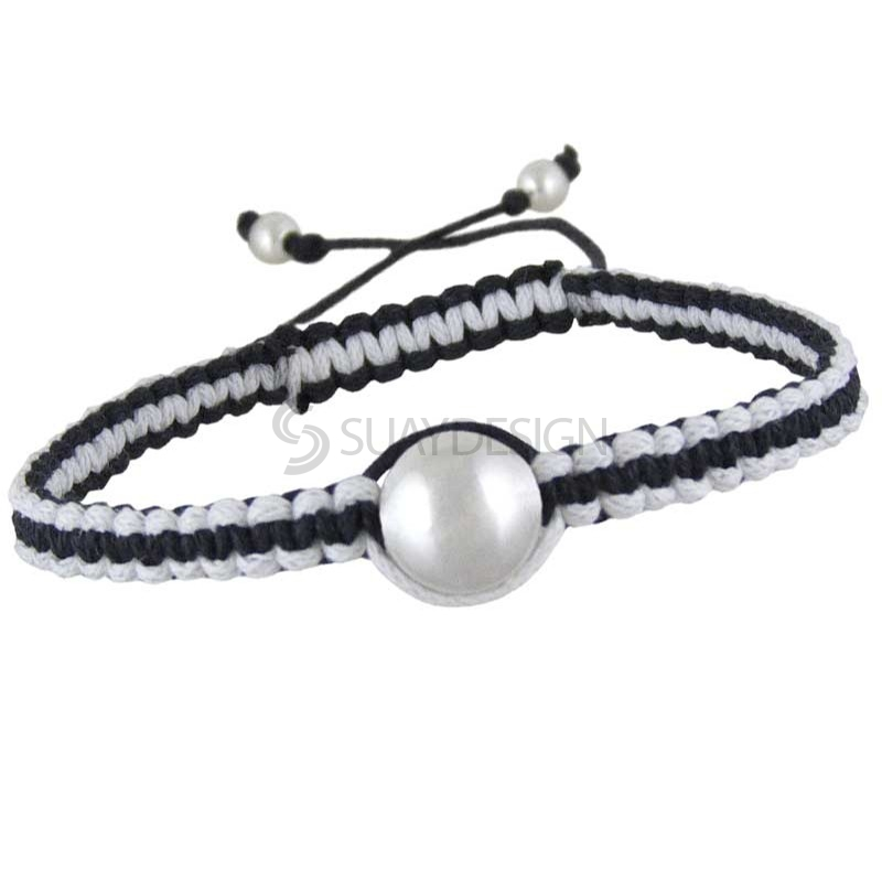 Women's Silver Friendship Bracelet Black
