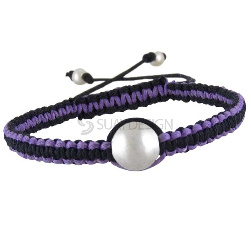 Women's Silver Friendship Bracelet Mauve