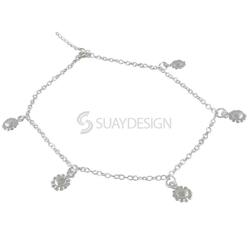 Women's Silver Flower Ankle Chain