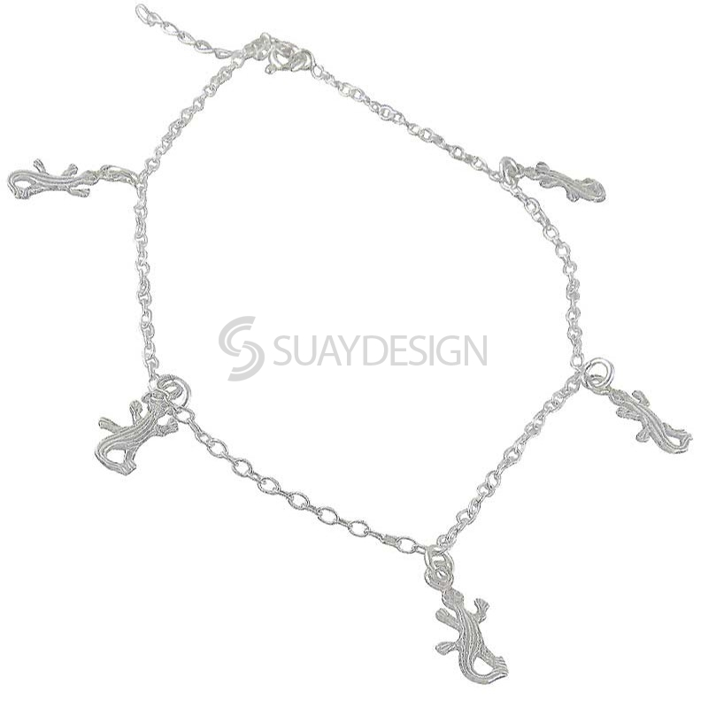 Women's Silver Gecko Ankle Chain