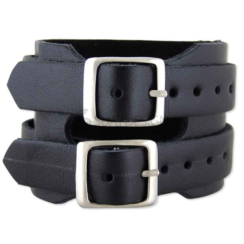 Trento Black Leather Bracelet
