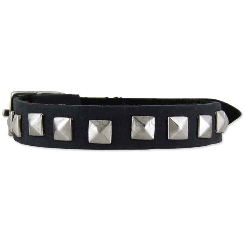 Women's Riga Black Leather Studded Bracelet