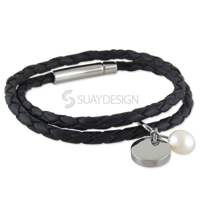 Women's Vicenza Leather Pearl Bracelet