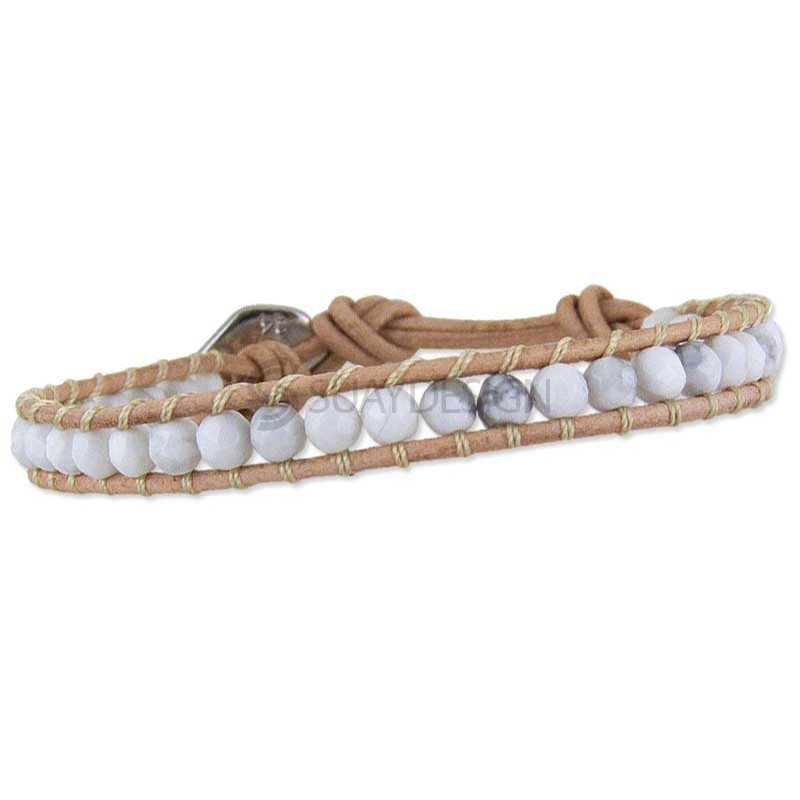 Women's Rio Howlite Tan Leather Bracelet
