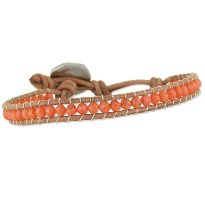 Women's Rio Coral Tan Leather Bracelet