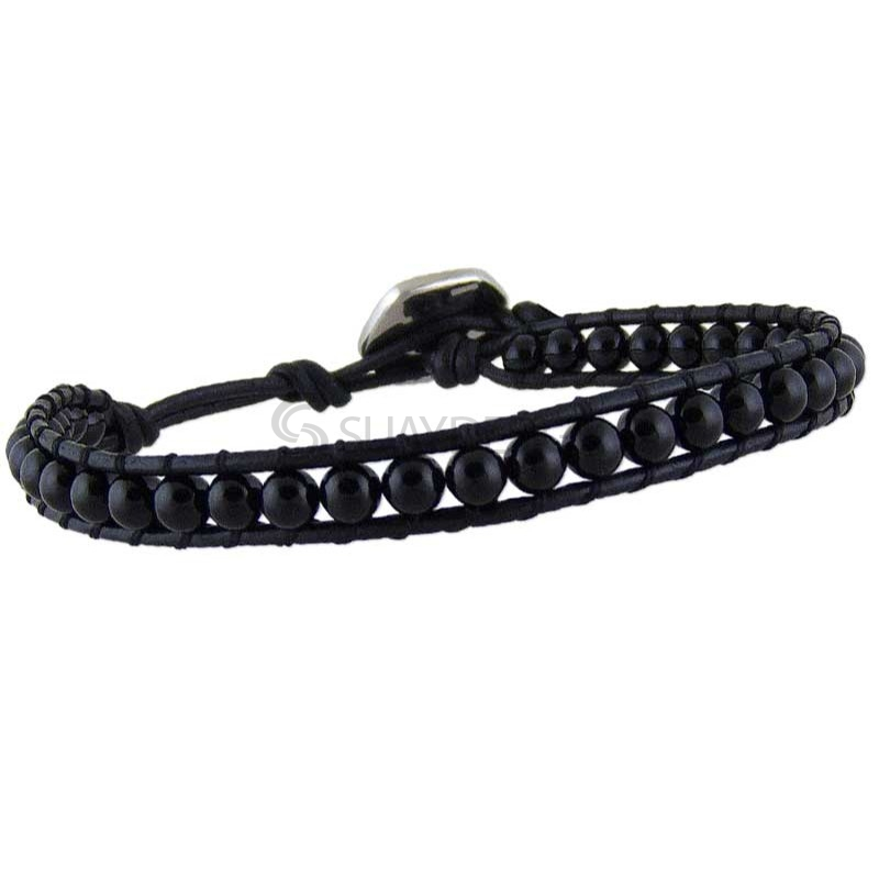 Rio Agate Black Leather Bracelet