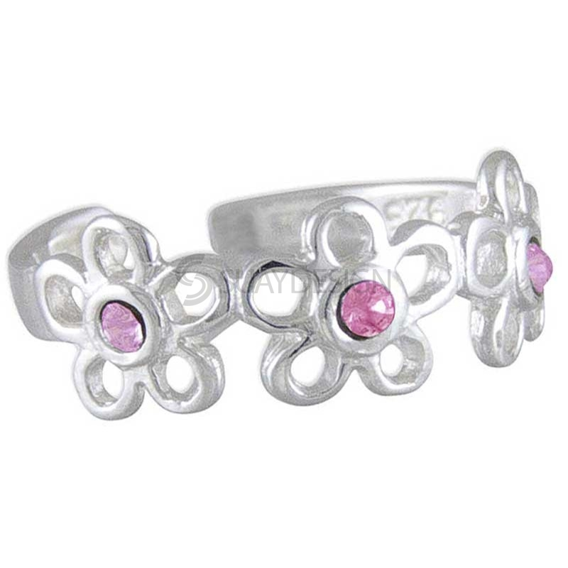 Women's Silver Pink Flower Toe Ring