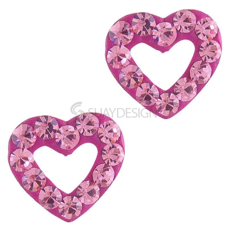 Women's Sparkly Pink Loveheart Silver Earrings