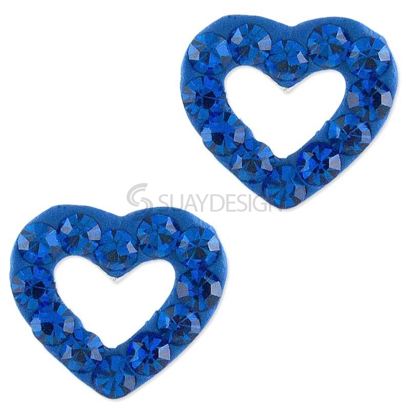 Sparkly Blue Loveheart Silver Earrings