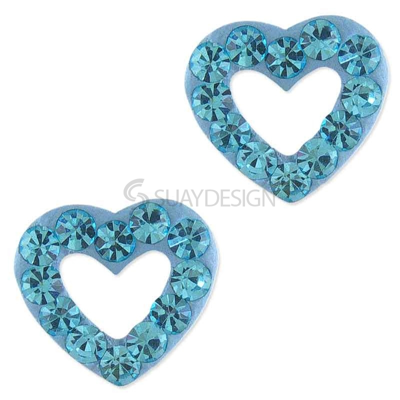 Sparkly Aquamarine Loveheart Earrings