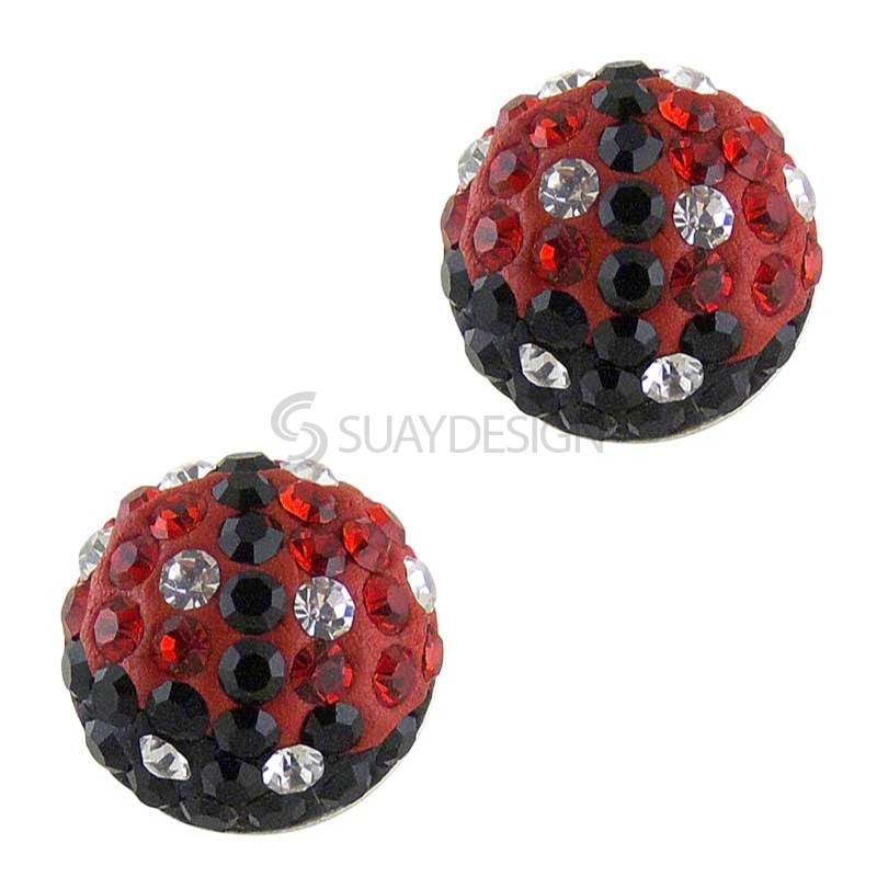 Silver Sparkly Ladybird Earrings