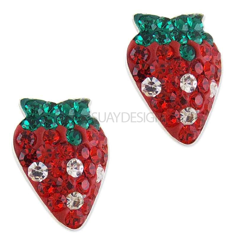 Women's Silver Sparkly Mini Strawberry Earrings