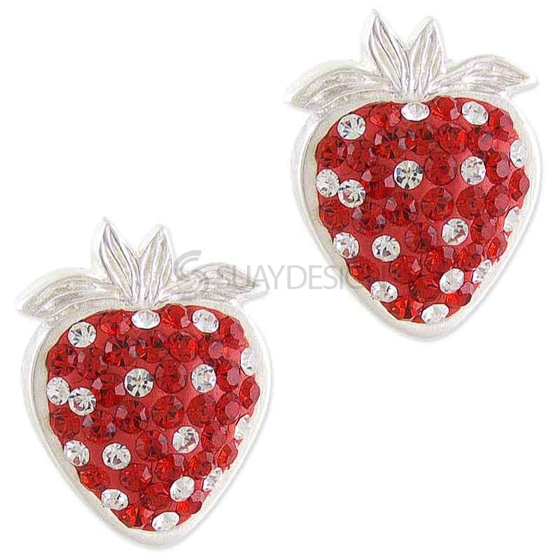 Women's Sparkly Silver Strawberry Earrings