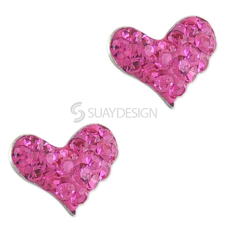 Women's Silver Sparkly Pink Heart Earrings