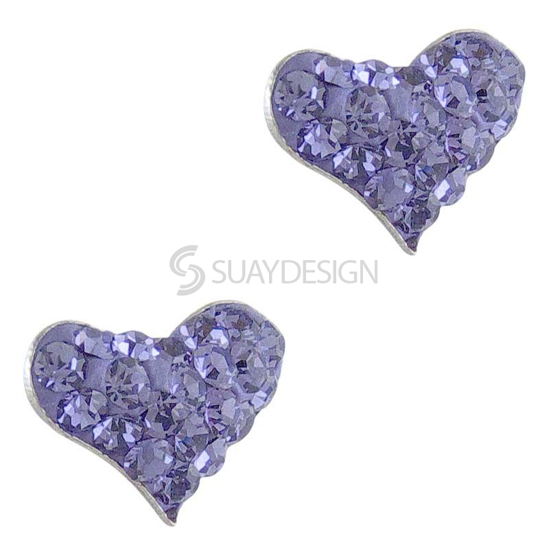 Silver Sparkly Mauve Heart Earrings