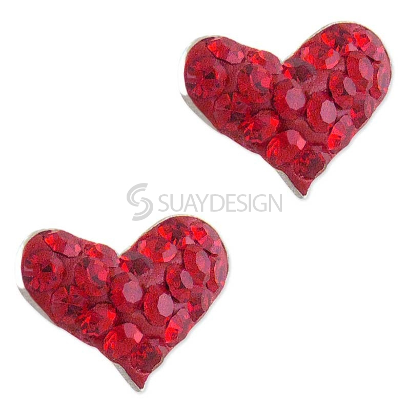 Women's Silver Sparkly Red Heart Earrings