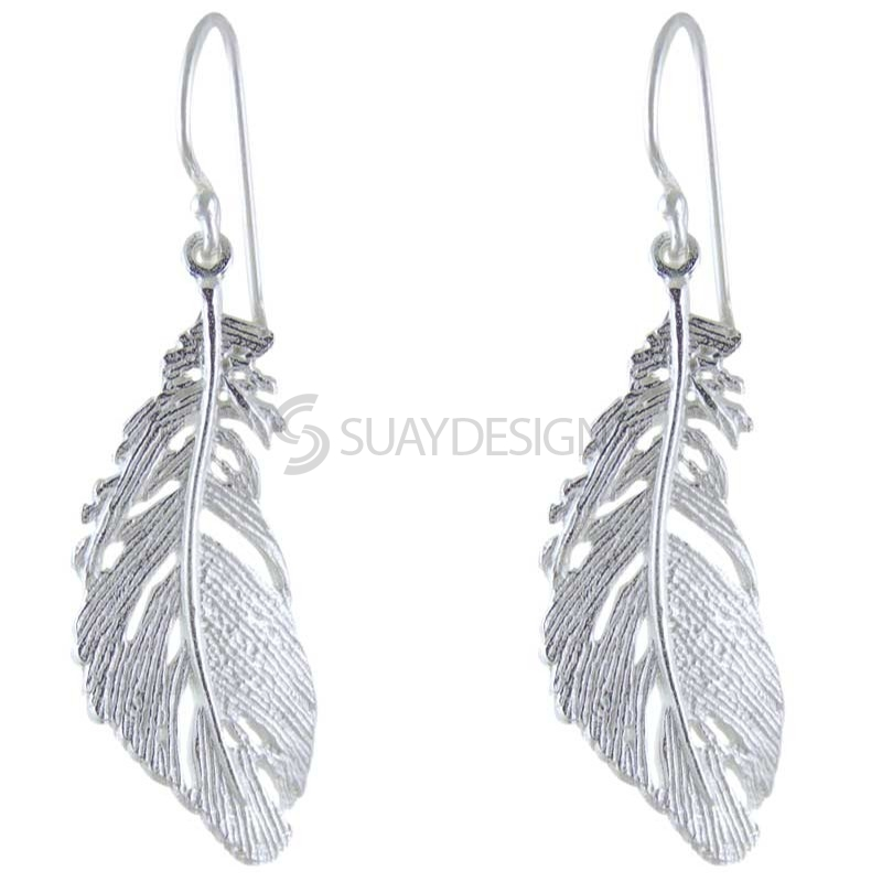 Women's Silver Plume Earrings