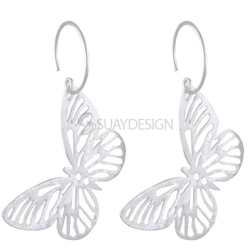 Women's Silver Butterfly Earrings